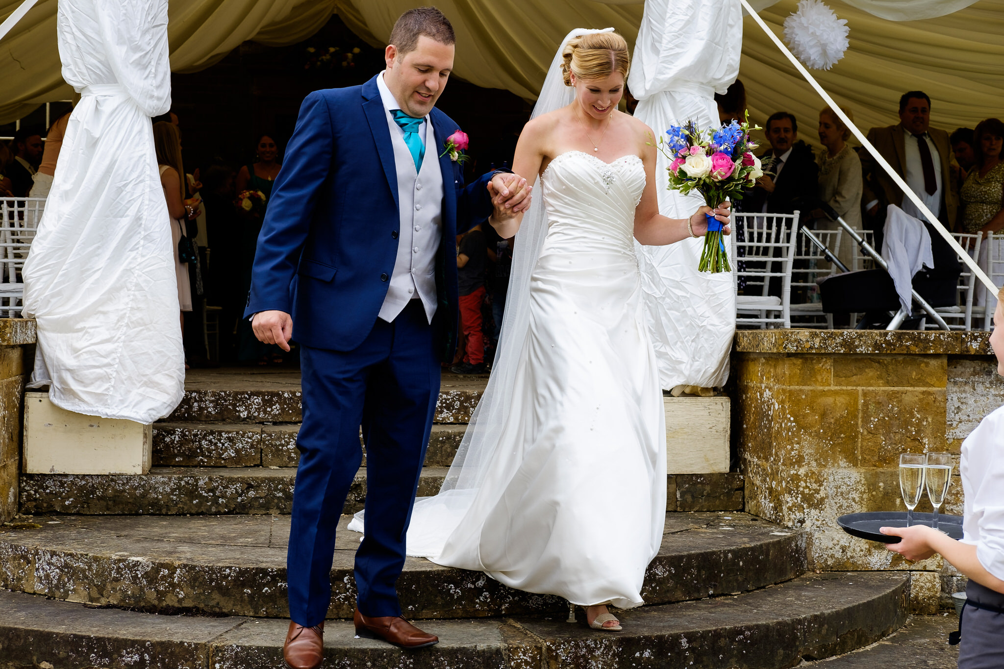 A bride and groom just married at  Poundon House  Wedding Venue, Bicester