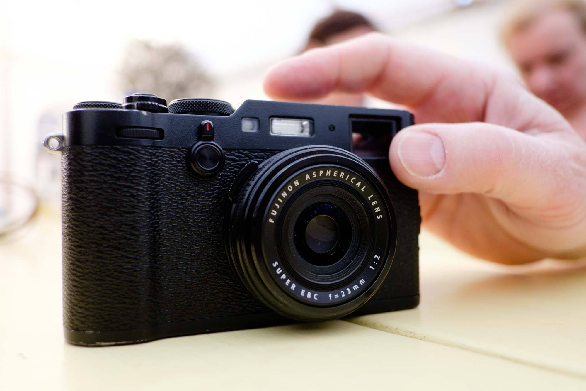 Prototype X100F camera in black. Photo by  Clive Blair Photography