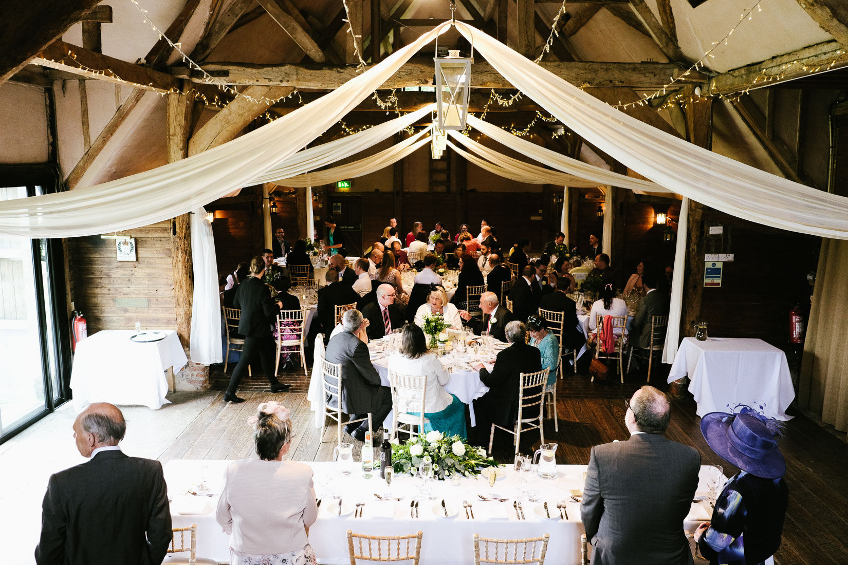 A view of Lains Barn wedding venue, Oxfordshire, from the rear balcony