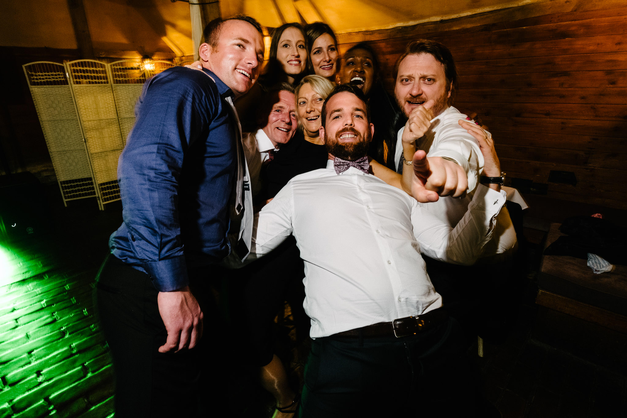 Wedding guests partying at Lains Barn Wedding Venue