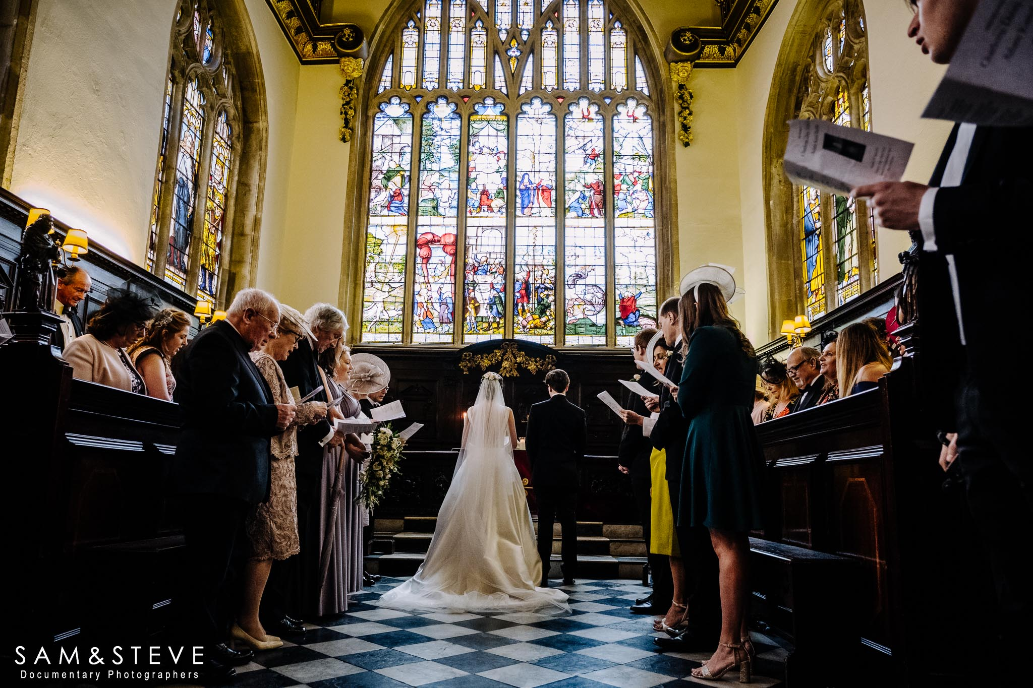 A wedding taking place at Lincoln College Chapel, Oxford.