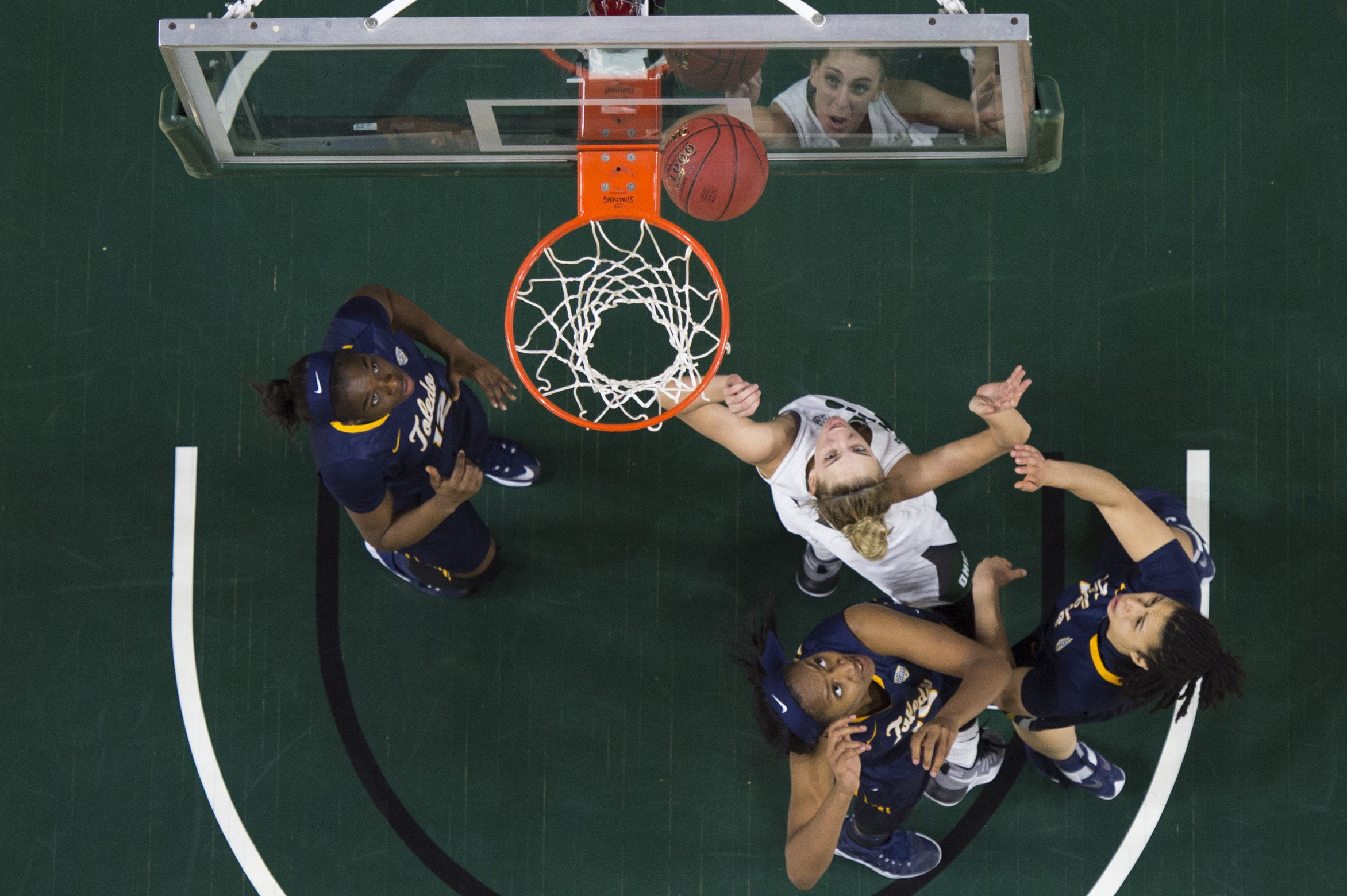 Ohio University forward Kelly Karlis shoots a shot against Toledo during their game on Feb. 2, 2017 at the Convocation Center in Athens, Ohio.