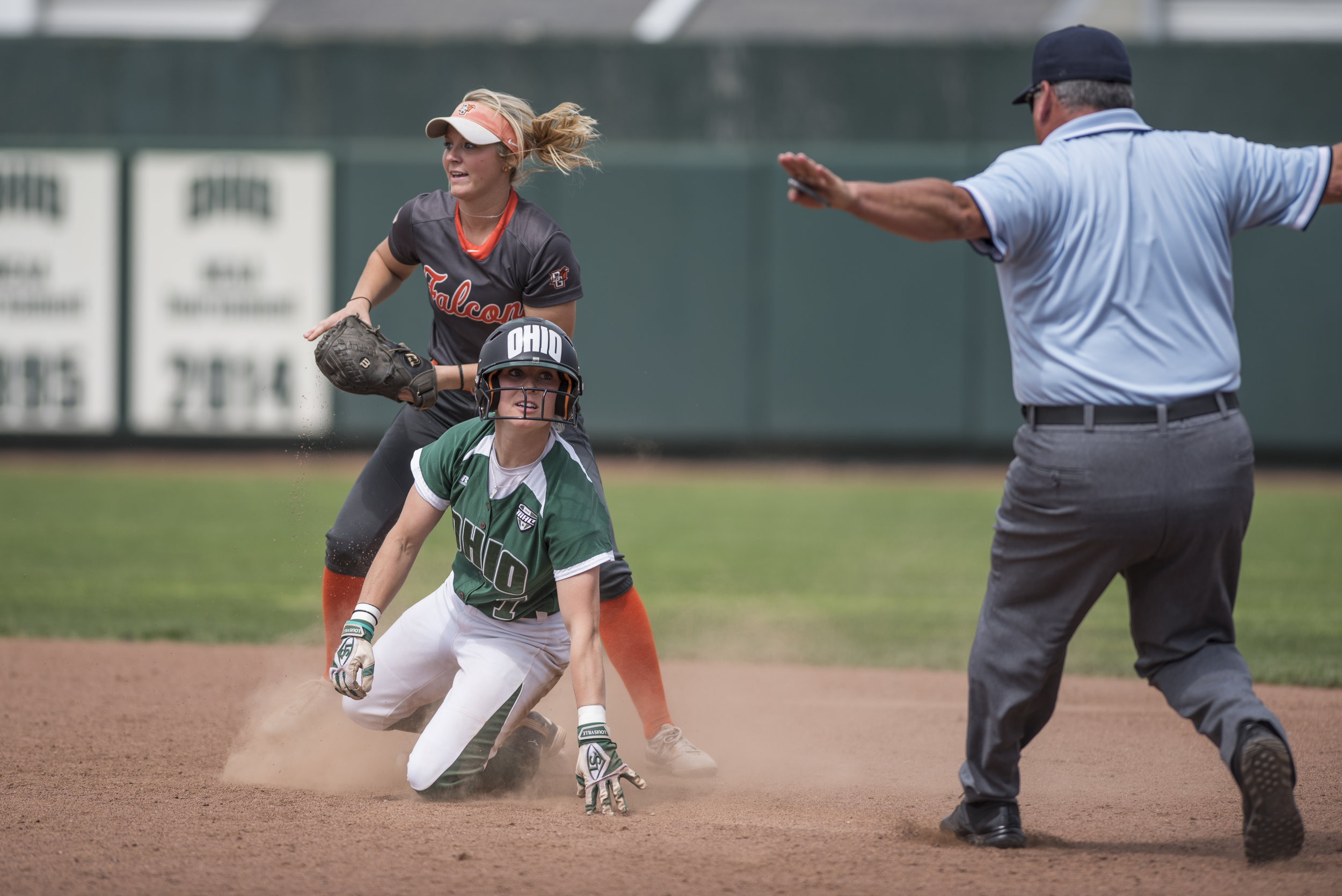 Ohio University's Taylor Saxton safely slides into second base during the Bobcats game against Bowling Green on April 21, 2017. The Bobcats won 7-1.