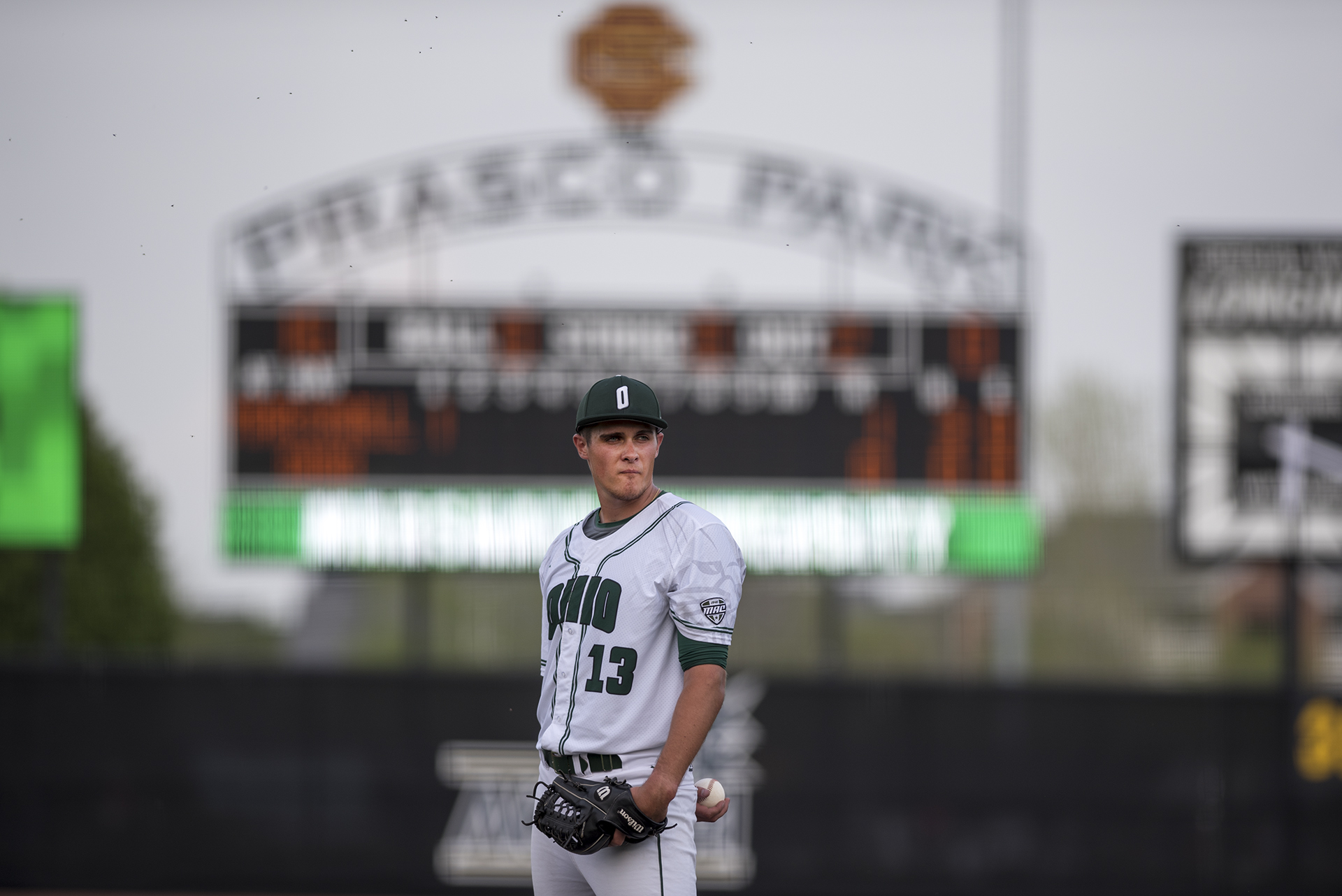 Ohio University's Nick Kamrada prepares for the pitch during the Bobcats game against Marshall University on April 19, 2017 at Prasco Park in Mason, Ohio.