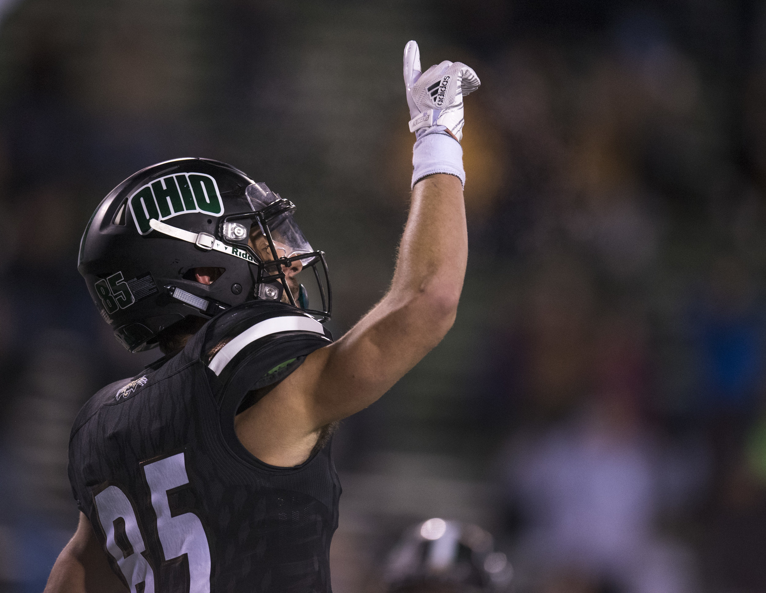 Brendan Cope celebrates after a touchdown during Ohio's game against Toledo on November 8, 2017. The Bobcats won 38-10.