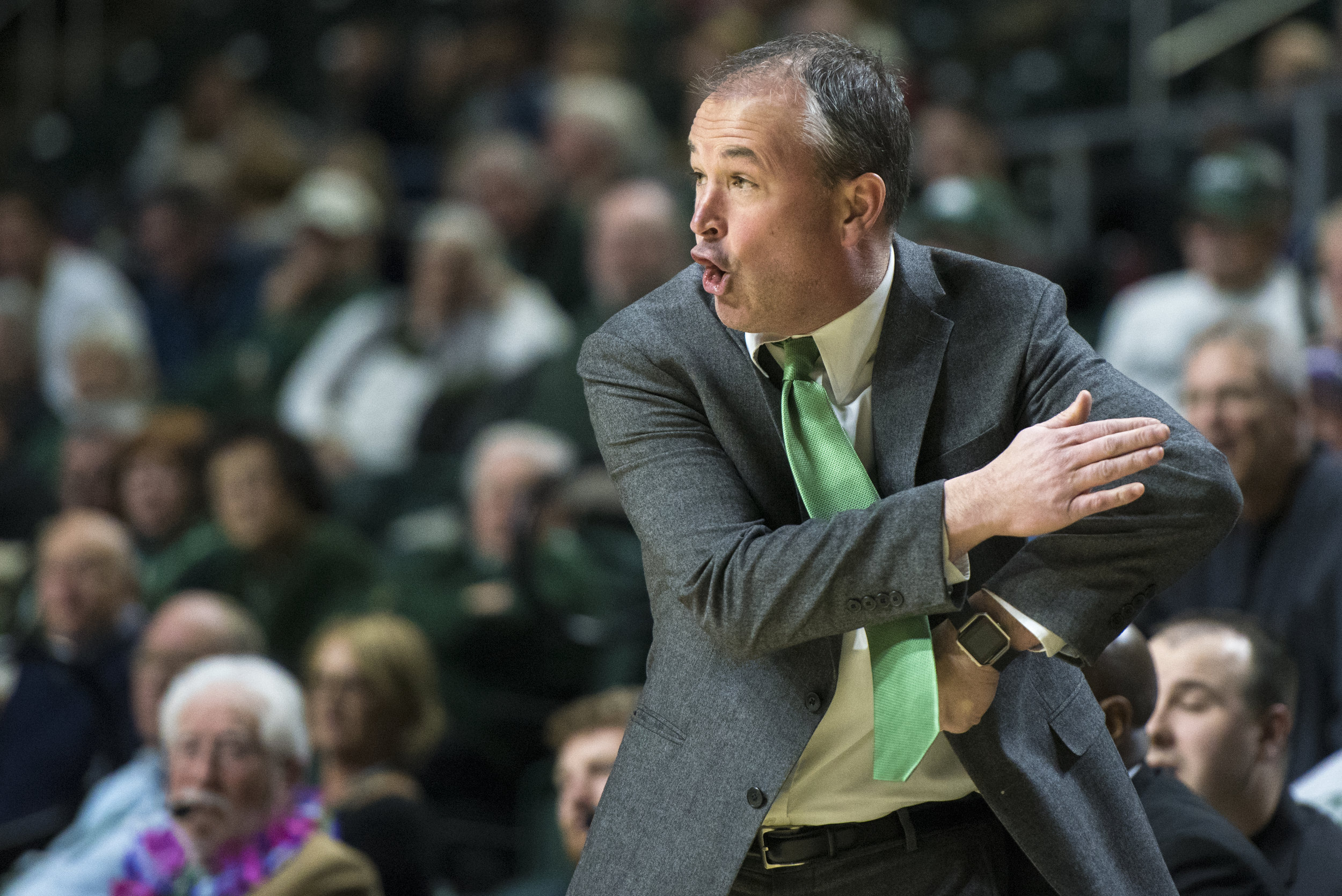 Ohio Bobcats Coach Saul Phillips yells in frustration at his players during the game against Toledo on Jan. 16, 2017 which the Bobcats lost 91-57.