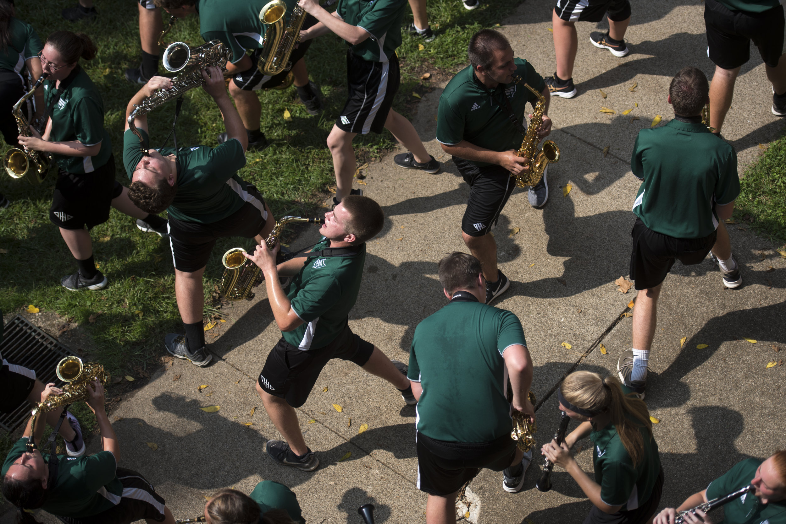The Marching 110, Ohio University's marching band, performs at the involvement fair on College Green during Welcome Weekend on Aug. 26, 2018 in Athens, Ohio.