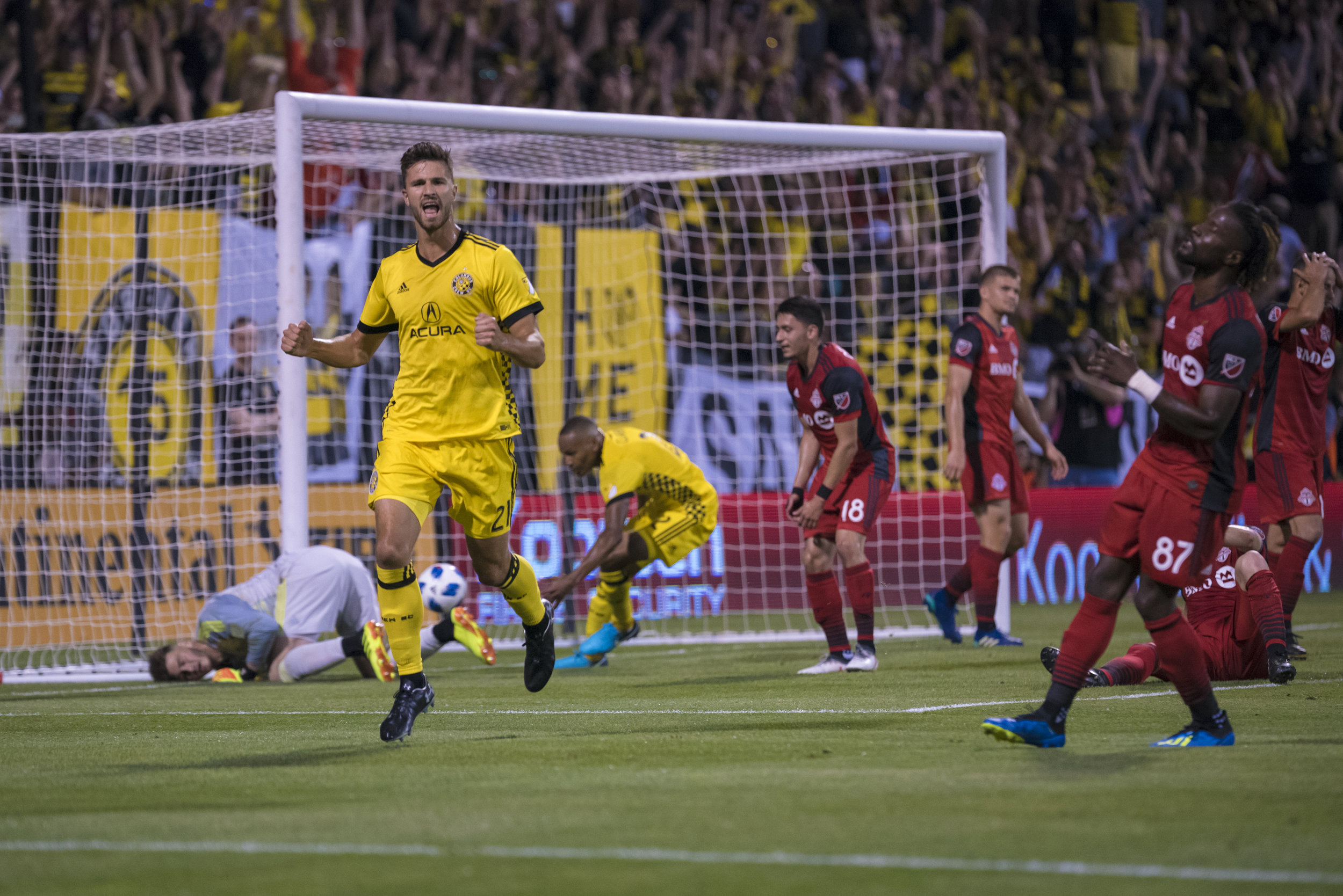 Columbus Crew defender Alex Crognale cheers as he scores his first ever Major League Soccer goal in the game against Toronto on June 2, 2018 at Mapfre Stadium in Columbus, Ohio.