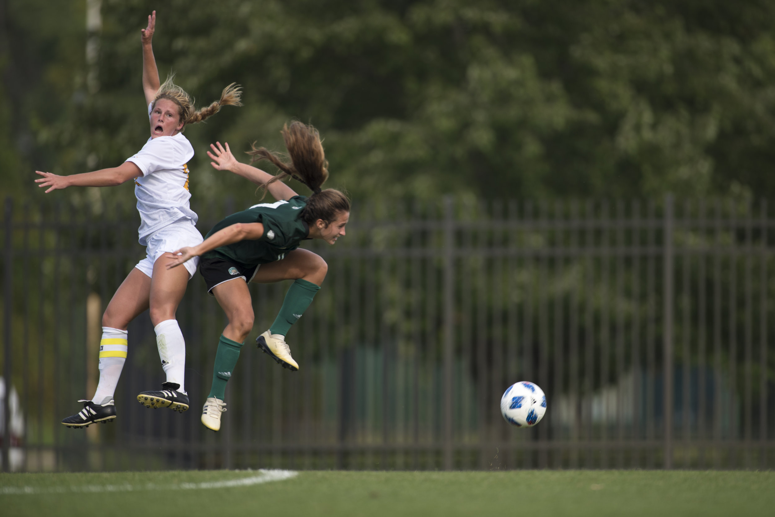 Ohio University defender Maria Collica goes for the header against Northern Kentucky University on Aug. 31. The Bobcats lost to the Norse 3-2.