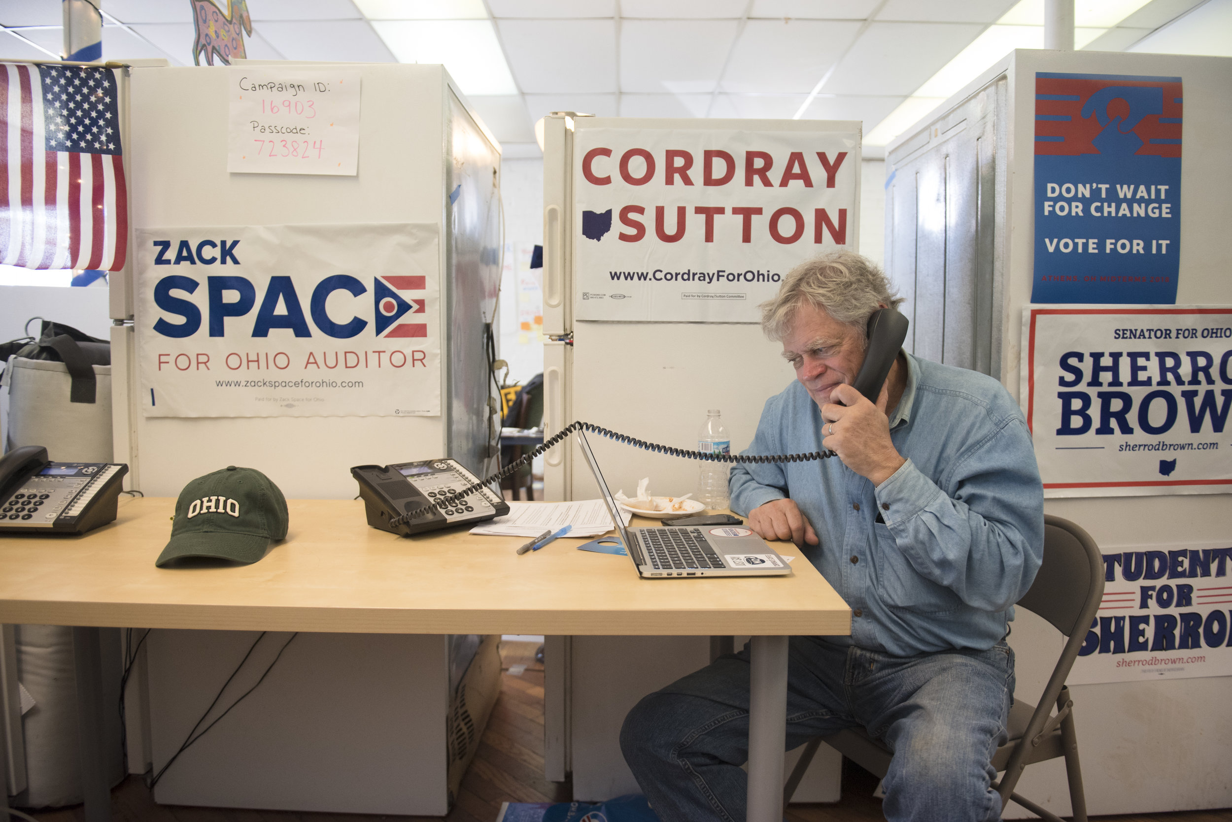 Fred Weiner places phone calls to try to get voters to the polls on Election Day at the Democratic Campaign Office in Athens, Ohio, on Nov. 6, 2018.