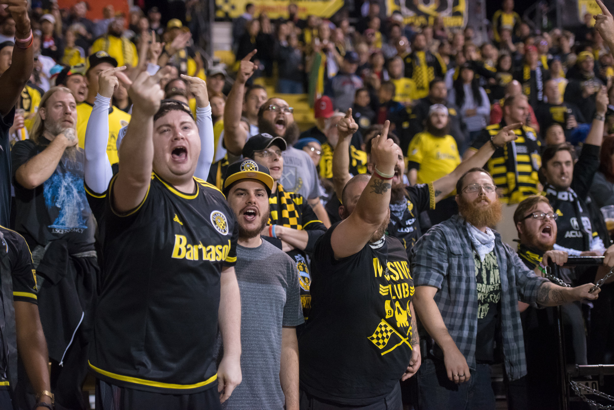 Columbus Crew fans boo and holler at the referees after a call made during the Crew's game against the Colorado Rapids on Sept. 22, 2018.