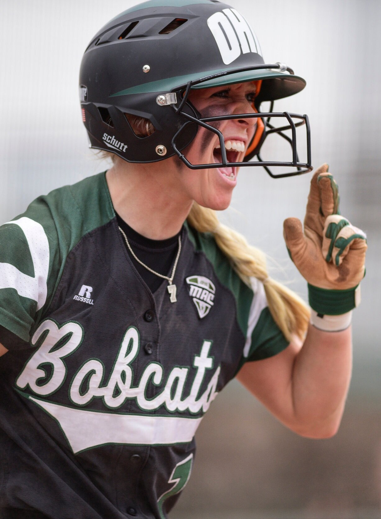 Ohio's Taylor Saxton celebrates after she scores another run in the March 25, 2017, game against Toledo at the Ohio Softball Stadium.