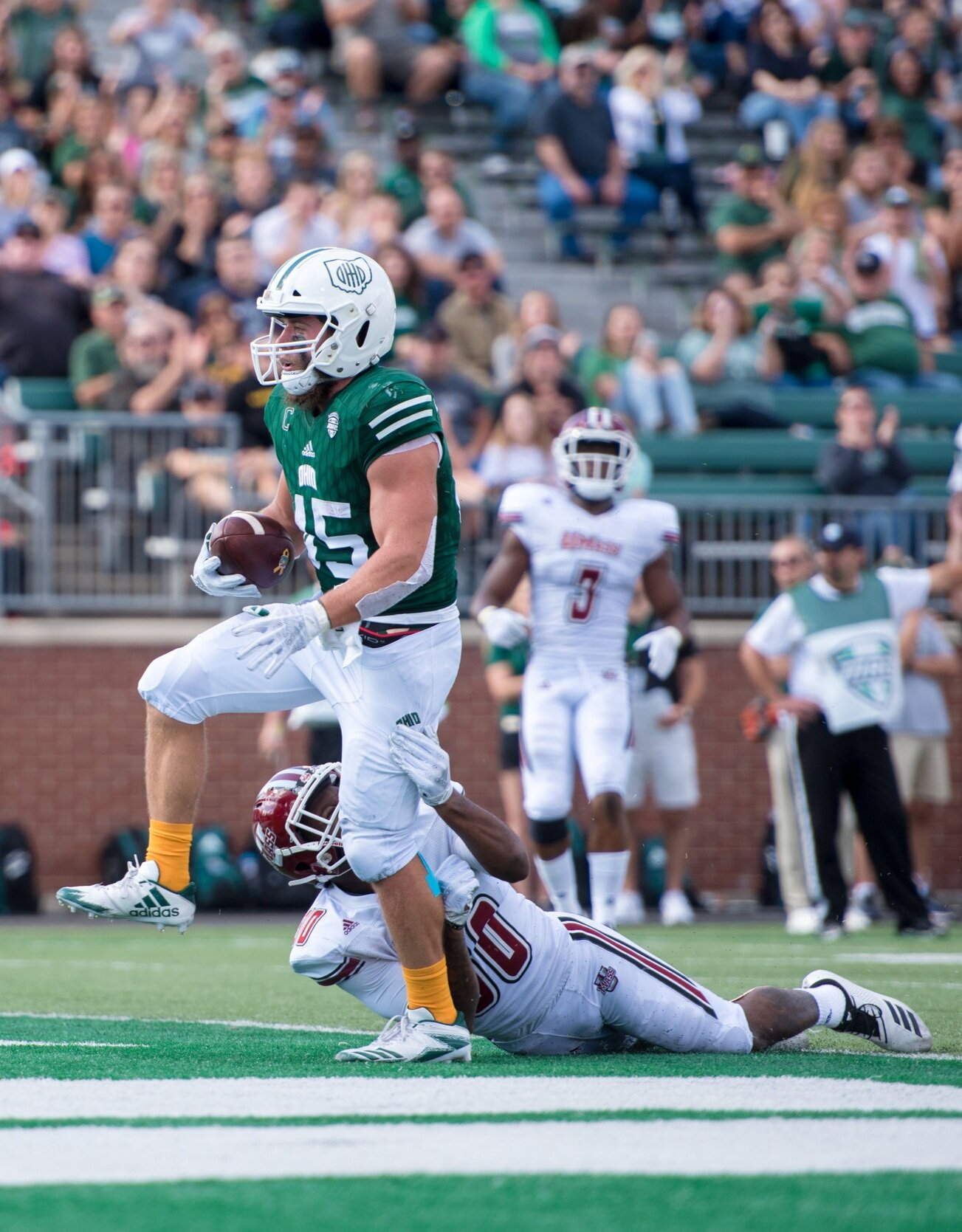 Ohio University Bobcats running back AJ Ouellette walks the ball into the touchdown during the game against UMass on Sept. 29, 2018.