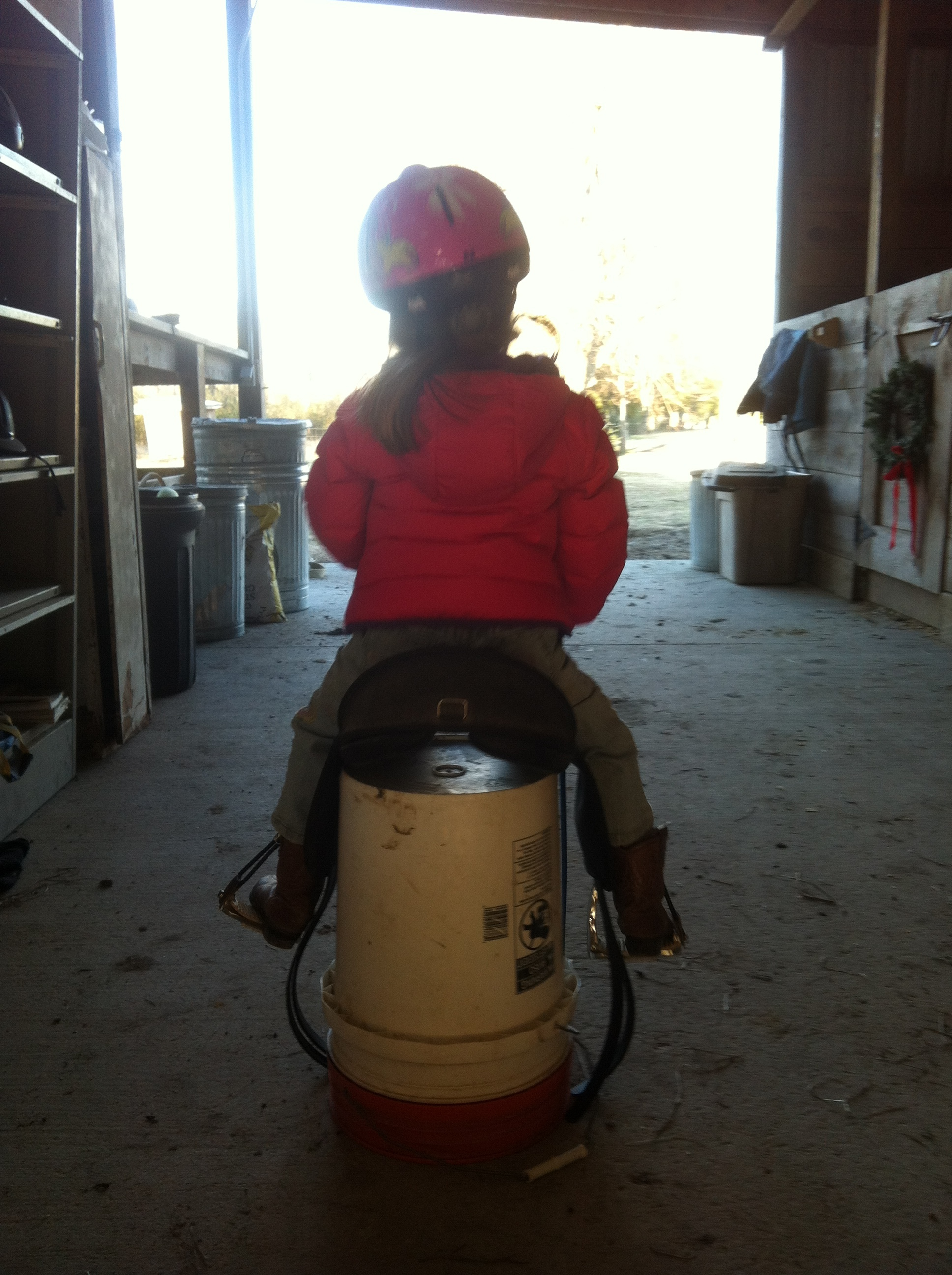 And, if no one's around to help you ride a horse, there's always a bucket!