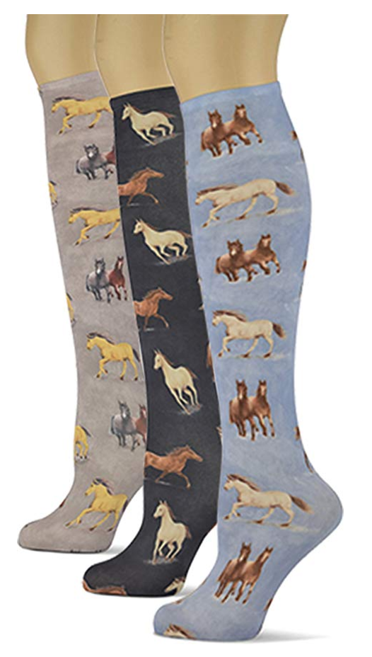 Knee High Trouser Socks w/Colorful Printed Patterns