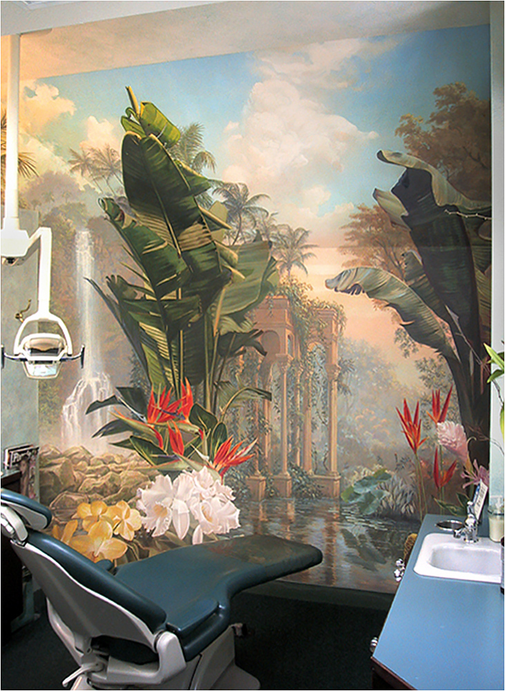 Tropical scenic printed mural for a dental office.