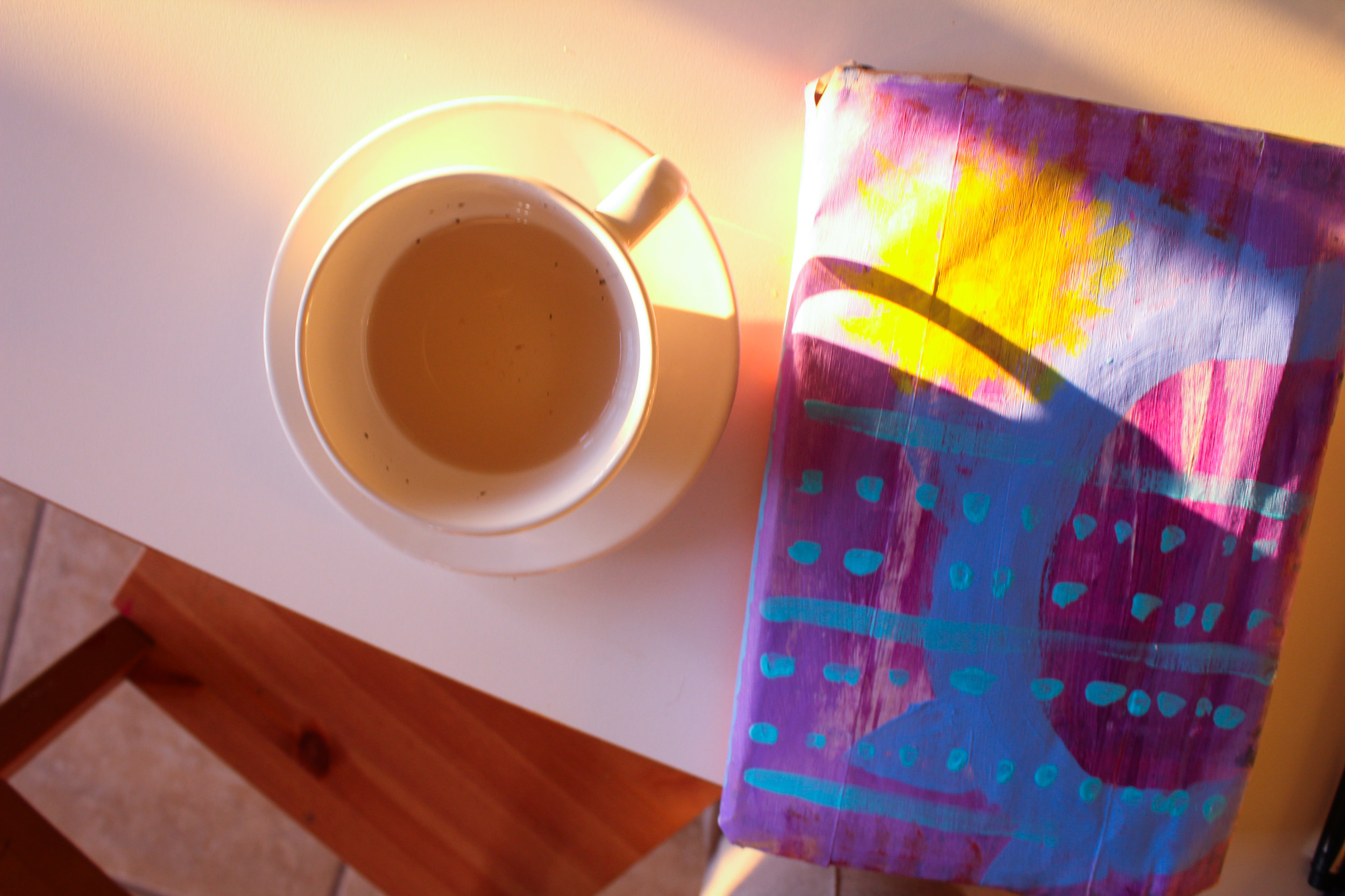 hand painted journal cover made with a paper bag from the local grocery + tea