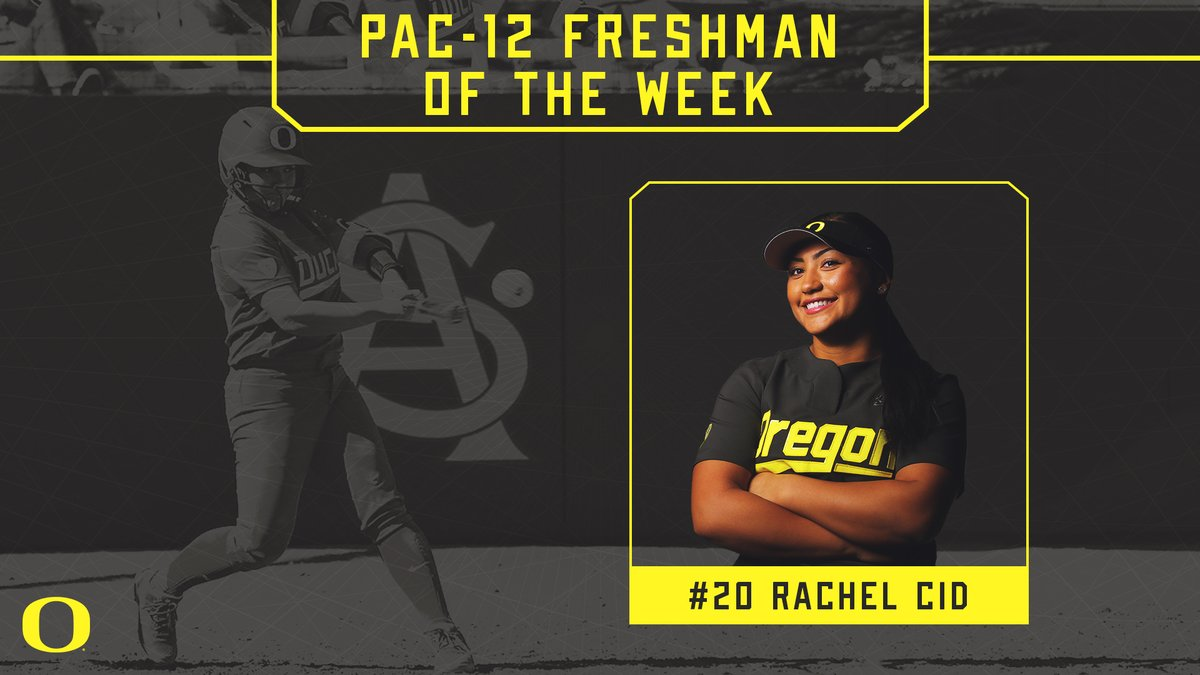 FRESHMAN OF THE WEEK: Rachel Cid, Fr., IF, Oregon (Tracy, Calif.) 5 GP, 17 AB, 7 runs, 8 hits, 10 RBI, .471 avg, 1.000 SLG  • Shined in her first weekend of collegiate action, hitting .471 (8-for-17) with three home runs and a team-high 10 RBIs to help Oregon post a 5-0 record at the Kajikawa Classic against Kansas (14-5), CSUN (12-5), Missouri (6-1), Bradley (13-3) and Seattle (8-6). • Went 3-for-3 with a home run, four RBIs, three runs scored and two walks in her collegiate debut versus Kansas. • Tied for the team lead with three home runs after five games and drew five total walks to record a .591 on-base percentage for the weekend. • Recorded three multi-RBI games through first five college game