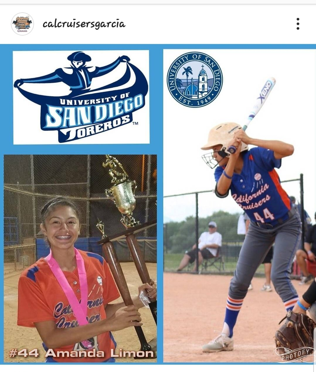 #44 AMANDA LIMON   Highlight Video: Click on Image  Grad Year: 2020  Position(s): SS/OF  School: Charter Oak  College: U of San Diego