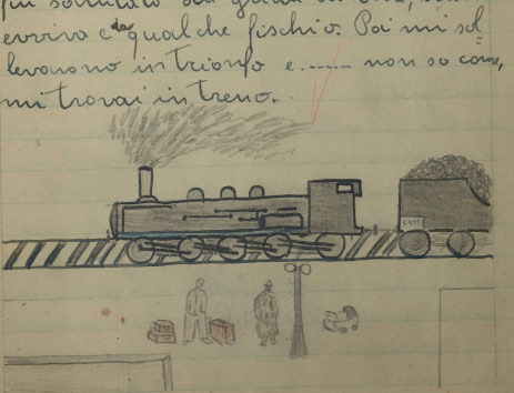 Sketch of the train from Rovigno, a sketch by Franco Aitala