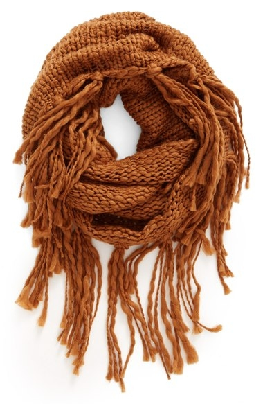 BP. Chunky Knit Fringe Scarf in Camel  here
