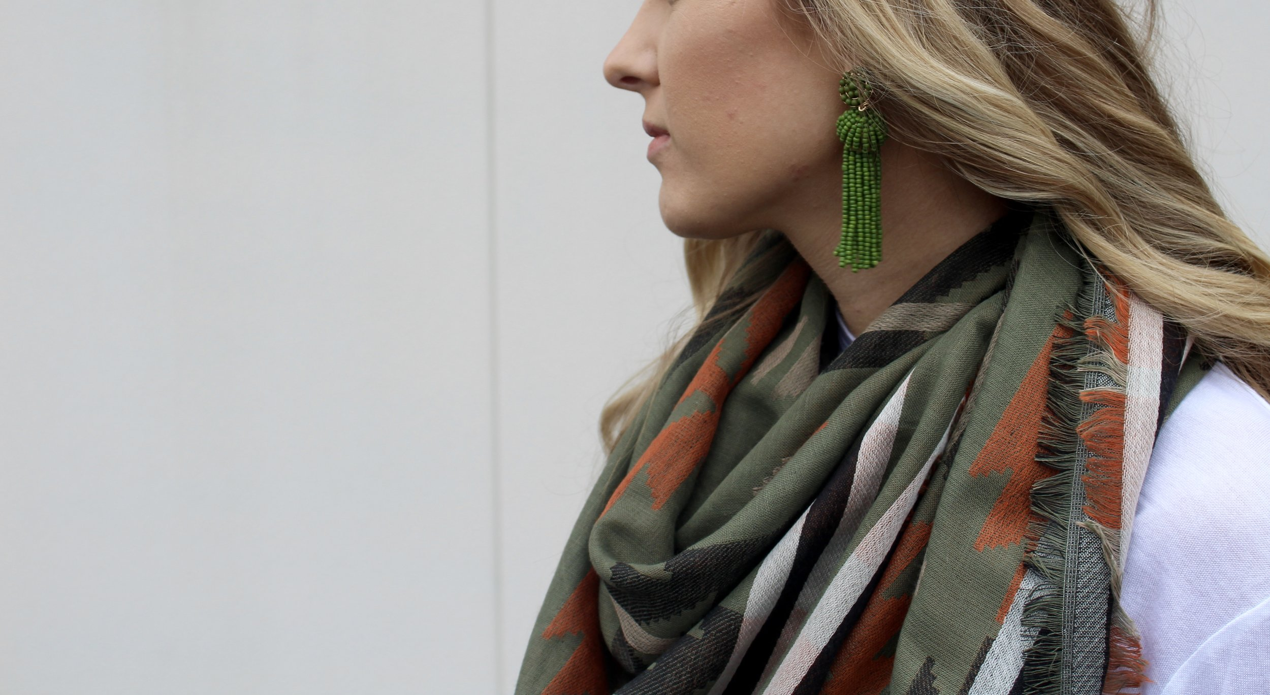 Earrings  // Scarf (sold out, similar  here ) //  Long-sleeve shirt  //  Jeans  //  Loafers