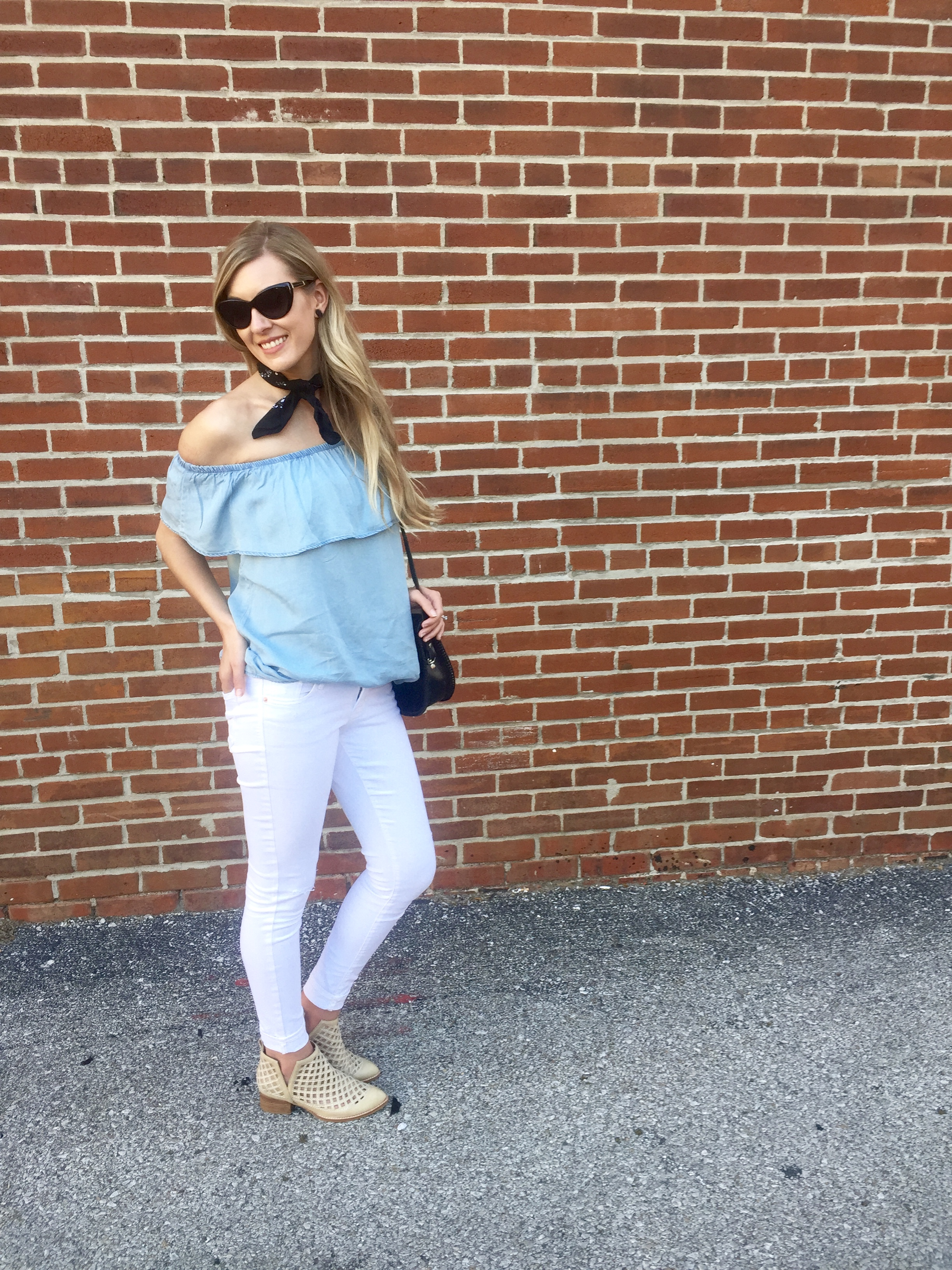 Sunnies Marc Jacobs old similar  here  // Chambray shirt similar  here  // White denim similar  here  // Neck scarf  Hobby Lobby  //  Jeffrey Campbell booties  // Purse is an antique store find similar  here