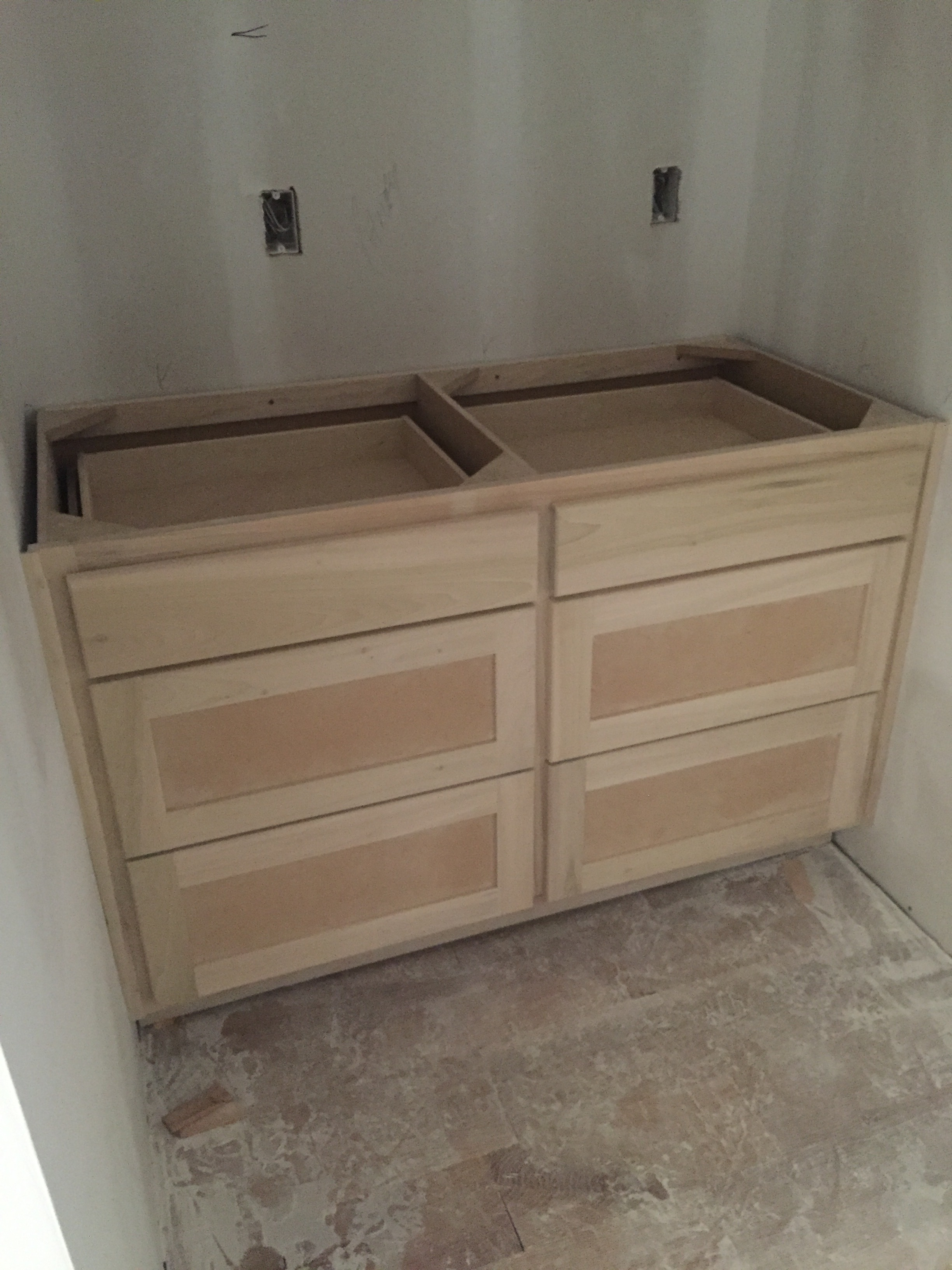 Coffee bar in our pantry, there will be large open shelves above