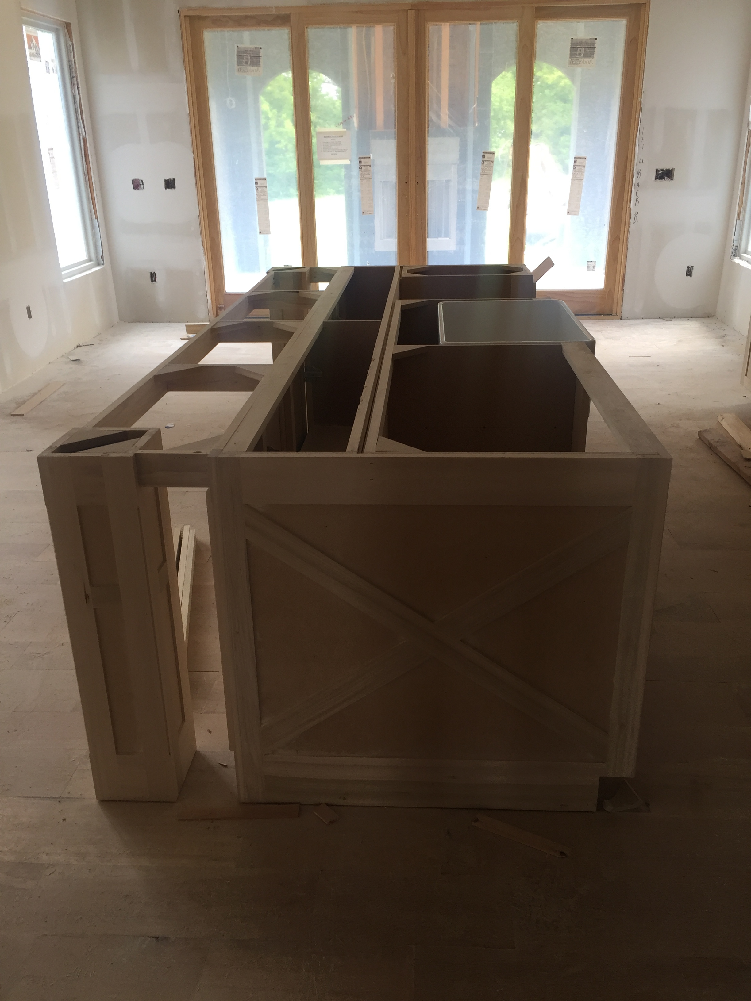 """Carried our """"x"""" pattern from the guest bathroom vanity into the kitchen on our island"""