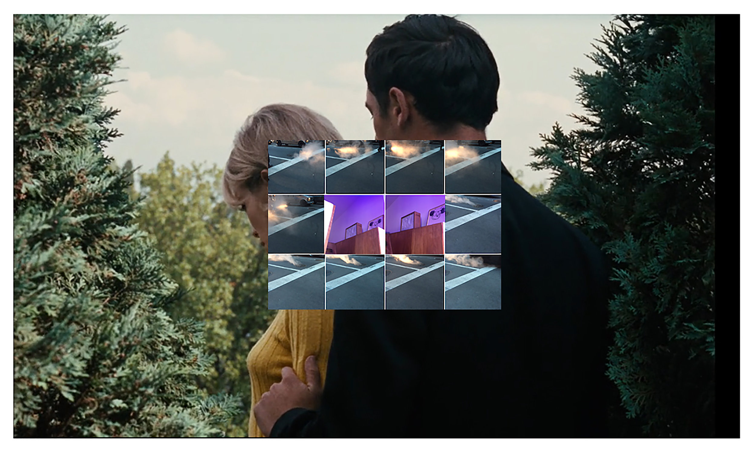 Que reste-t-il de nos amours? I    Weekend , Pigment Print, 18 x 11.01'', 2015.Collage work of: screenshot of film  Weekend  (1967) by Jean-Luc Godard; screenshot of my iPhone camera roll on November 30,2015.