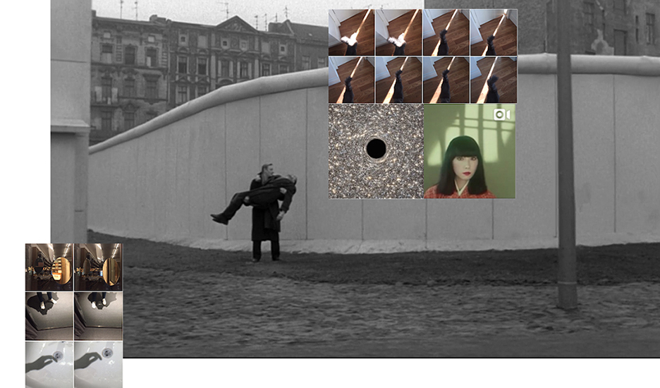 Que reste-t-il de nos amours? III   Wings of Desire, Pigment Print, 18 x 10.58'', 2015.  Collage work of: screenshot of film  Wings of Desire (1987) by Wim Wenders; Screenshot of Instagram post of Shiseido advertisement campaign featuring Sayoko Yamaguchi; Screenshot of Instagram account @NASA, a small galaxy contains a supermassive black hole; screenshot of my iPhone camera roll on November 30,2015.