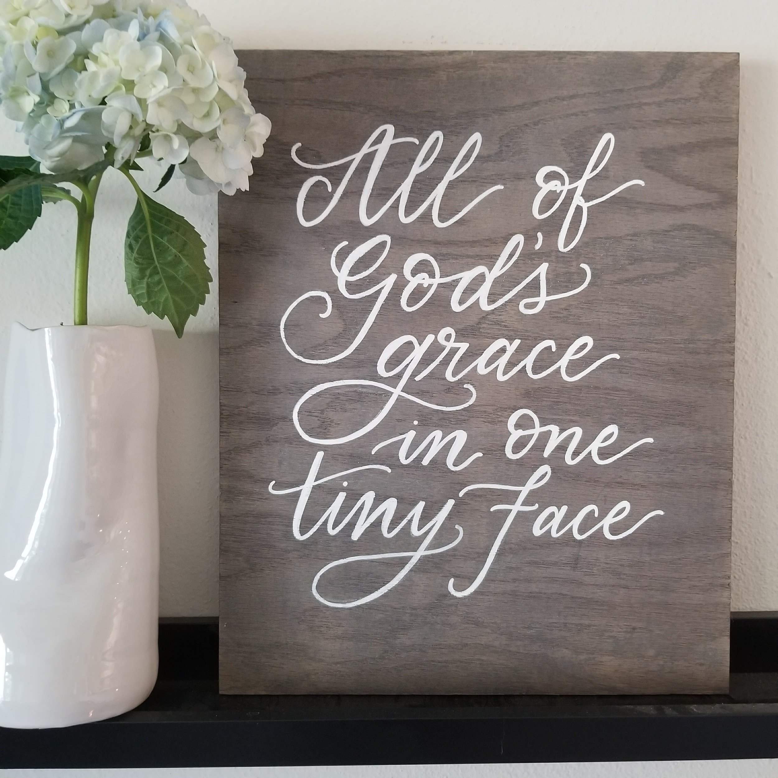 Semi-Custom: Quote on gray stained wood