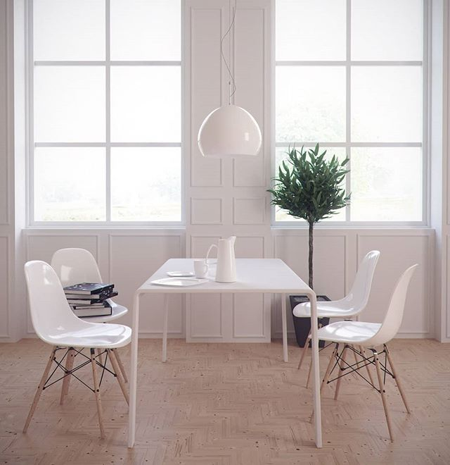 Home Inspiration. How many of you love all white kitchens? Check out this white on white dinning space. #home #homeinspiration #kitcheninspo #kitchen #dinning #table
