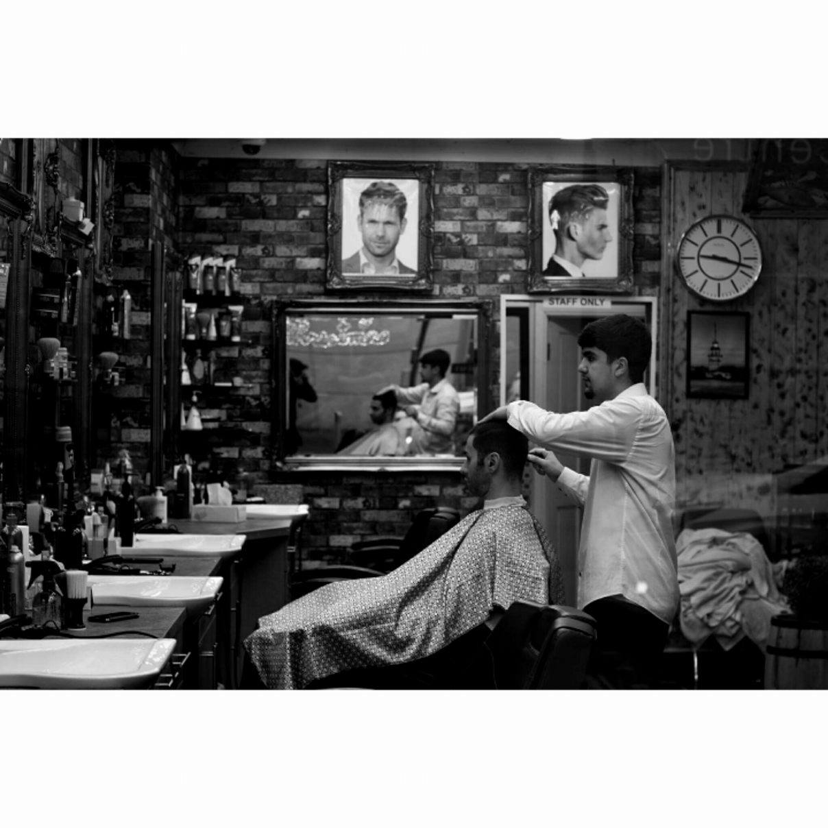 Barber shop in North London, London - January 2017