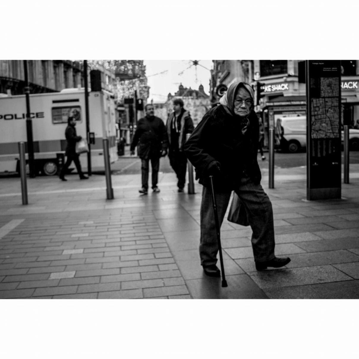 Asian old lady in Leicester Square, London - January 2017