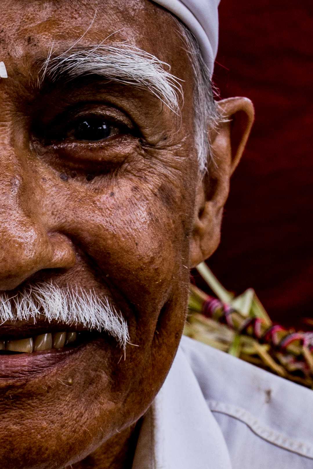Portrait of old man at the temple, Canggu - January 2018