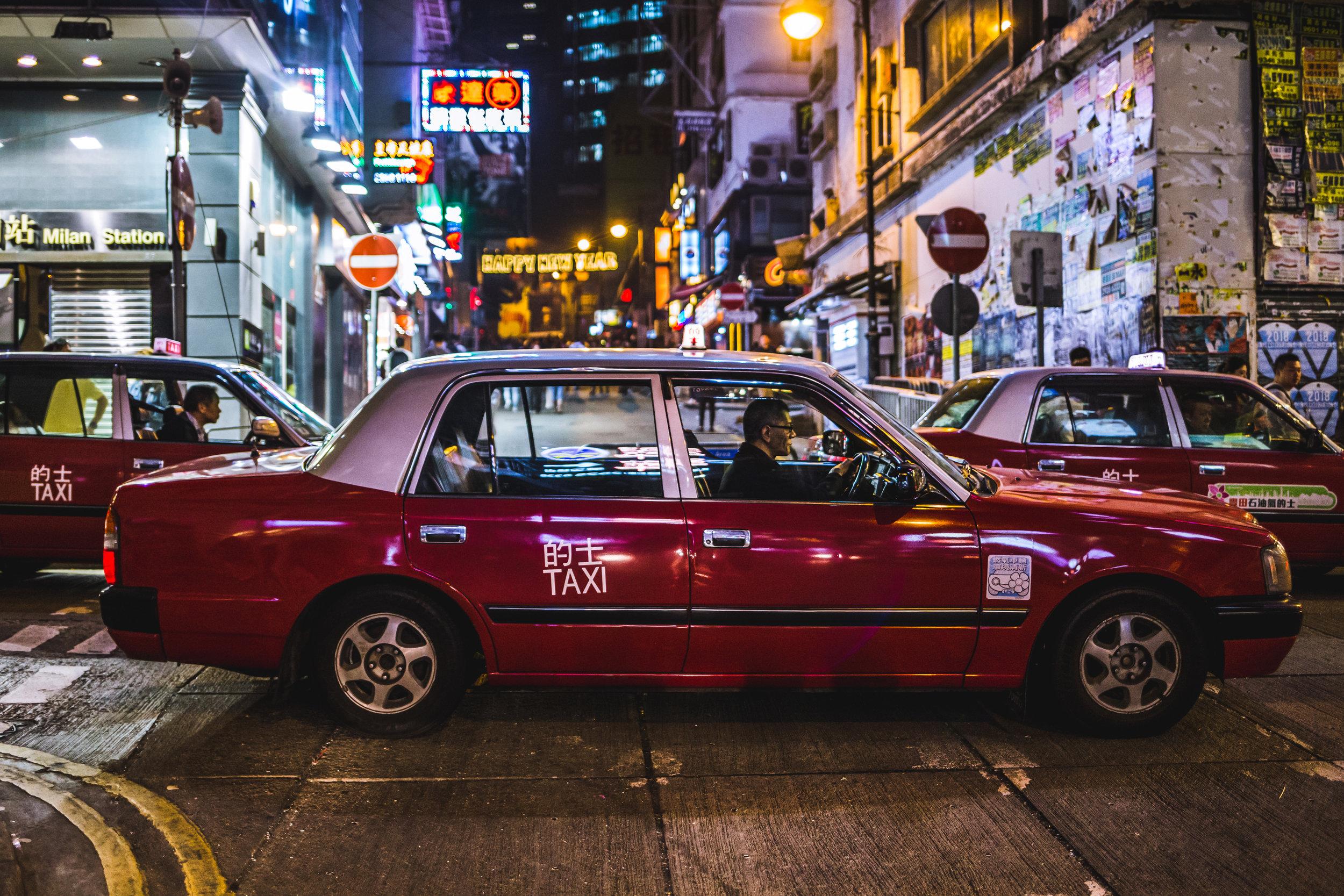Taxis in Hong Kong Central, Hong Kong - January 2018