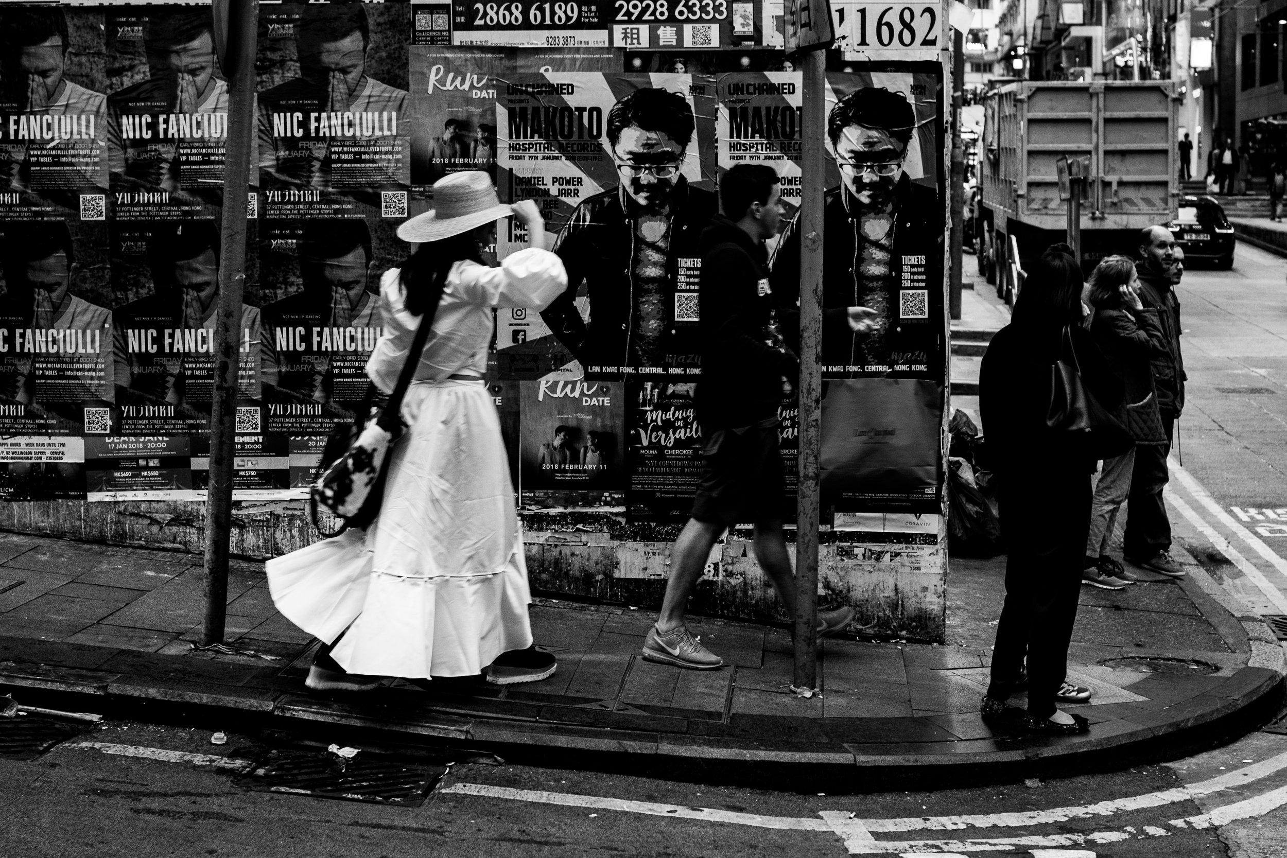 Monochrome posters, Hong Kong -January 2018
