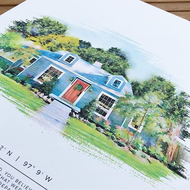 """You may recognize this """"Baby Blue"""" house from Fixer Upper! It's always fun to create a custom portrait of a well-known home! 🏡"""