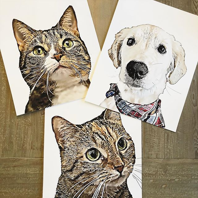 """Check out these pawsome """"siblings!"""" These 16x20 pieces are going to make such a great statement on the wall! #petportrait"""