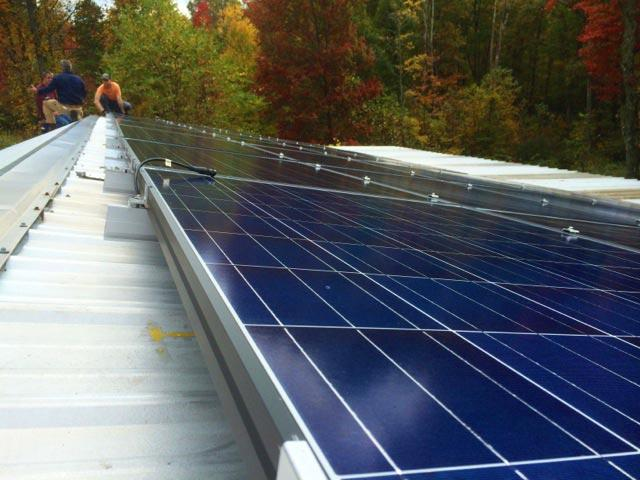 Solar panels arriving in Fayette County. Photo by Colleen Laffey for West Virginia Public Radio.