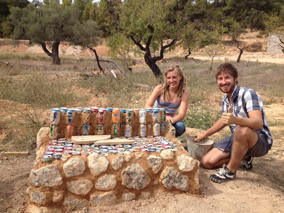 Frank and Anne helped us with the almond harvest - and as a side project, they built a bench with cans