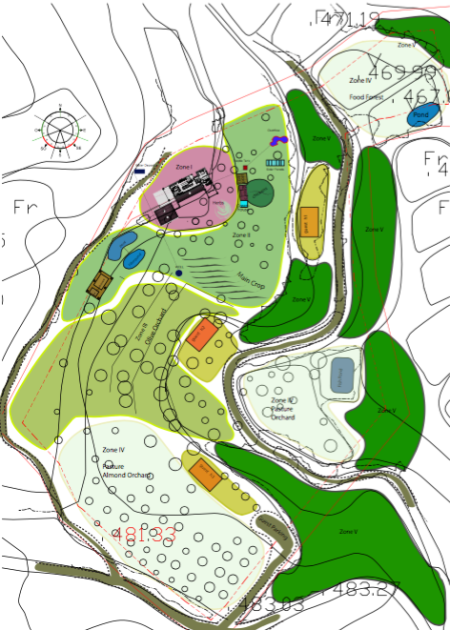 The first permaculture design for our property, there's the different coloured zones and a few buildings and pond