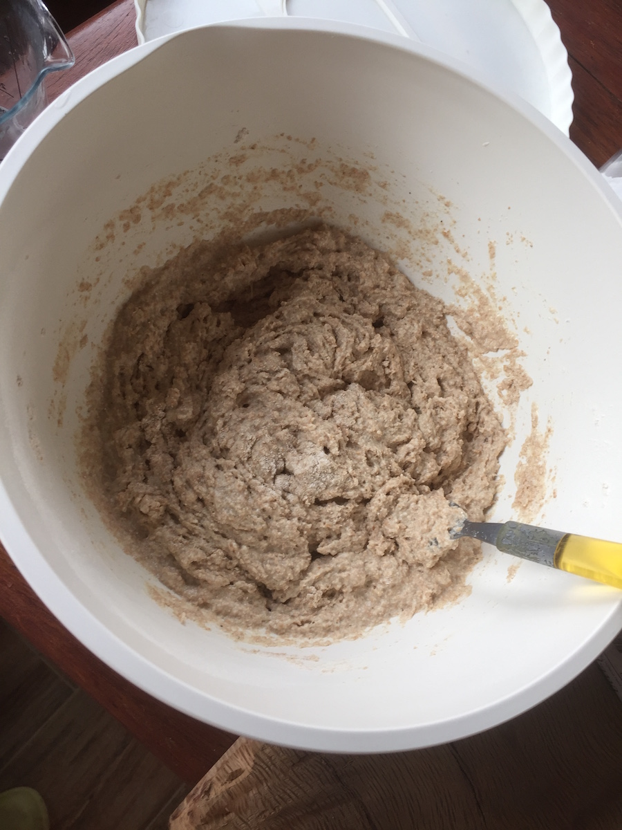 This is the consistency I like for the dough at night: not liquid, but not your usual bread dough.