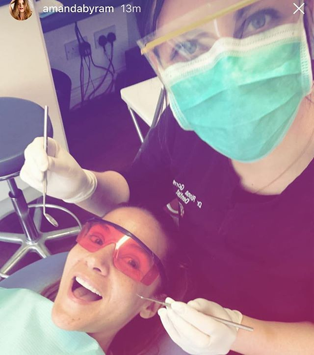Who is missing Dancing with the stars ✨? We sure are. Here is the beautiful @amandabyram coming in for her annual check up and scale and polish 😁 #dancingwiththestars #kbmdental #perfectsmile
