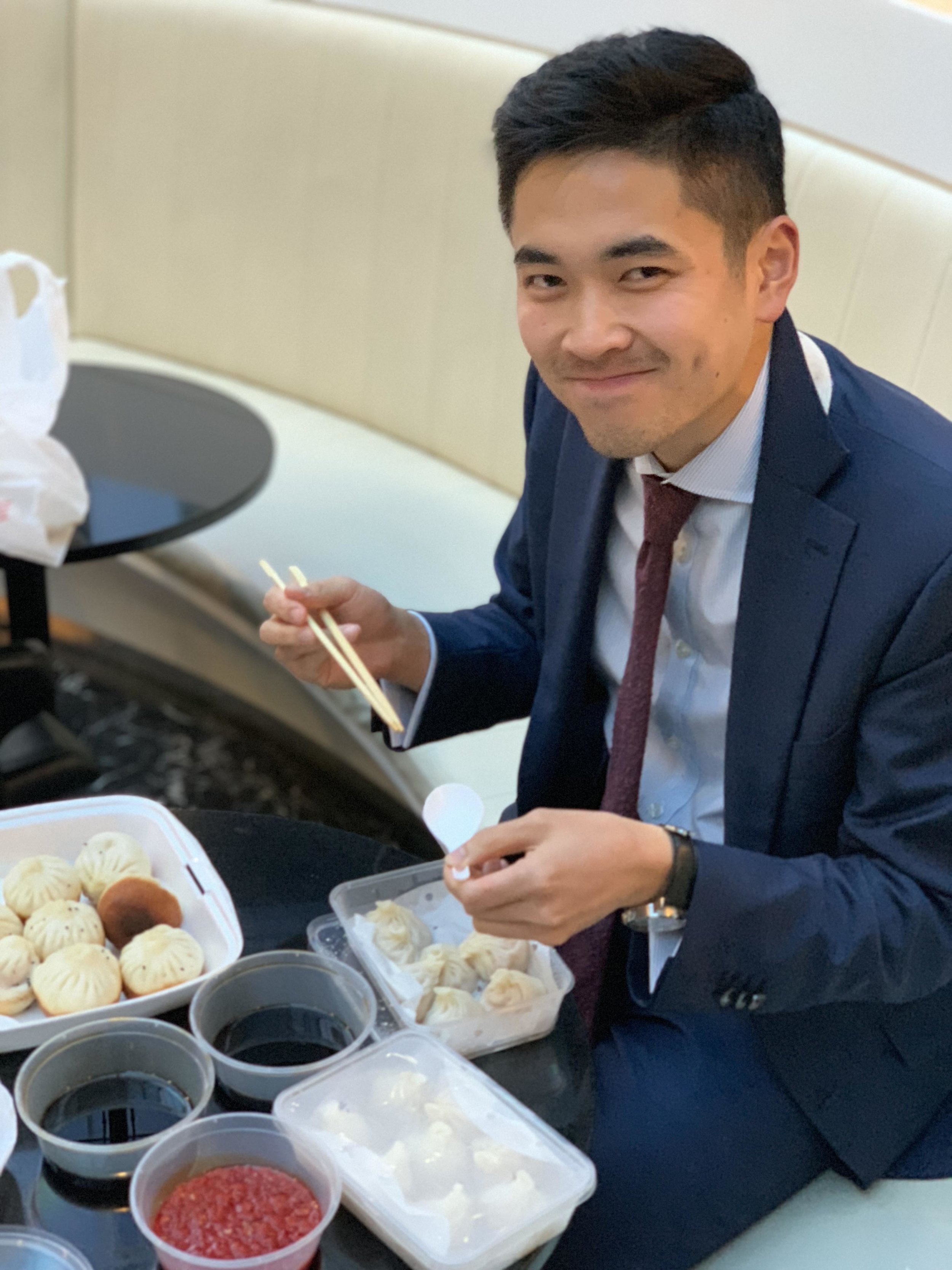 The ol' cheeky soup dumpling grin.
