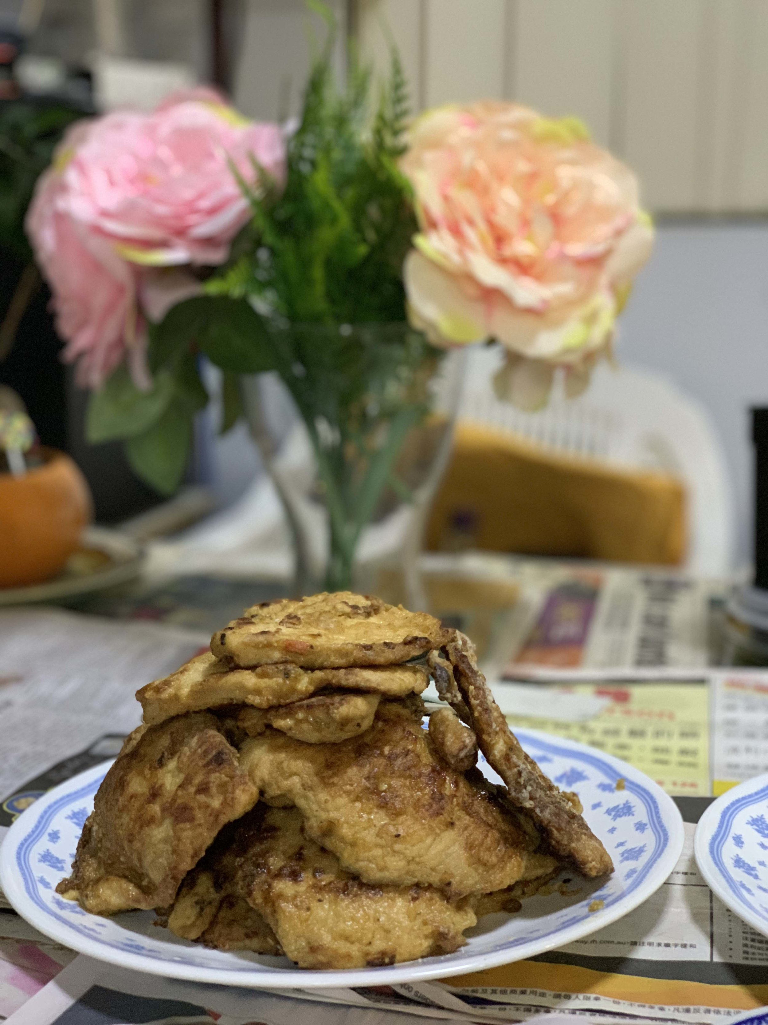 My dad and I started competing who could take a better photo of my mum's fried chicken.