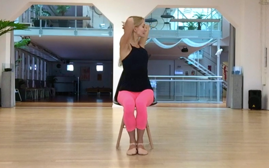 - Turn your upper body from side to side. Keep your back straight, shoulders down and try reaching your furthest turning point from the waist.