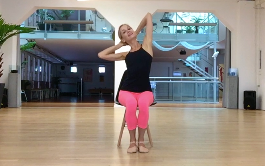- Bend sideways, elbow towards the waistline. Keep your shoulders down and elbows open to the sides