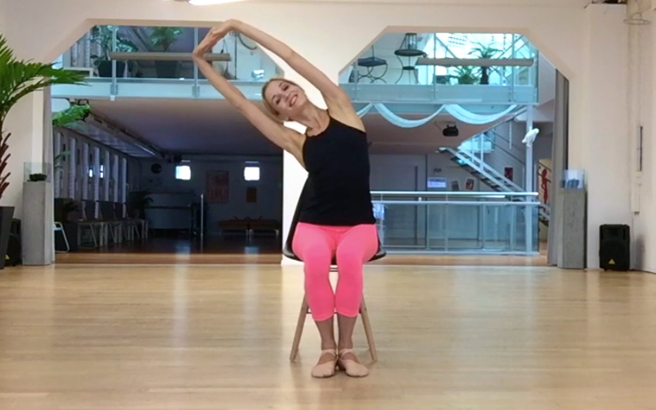 - Try the same movement with extended arms. Palms facing outwards, shoulders down.
